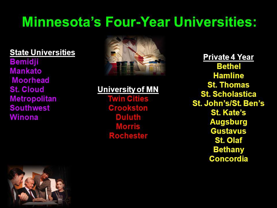 Minnesota's Four-Year Universities: State Universities Bemidji Mankato Moorhead St.