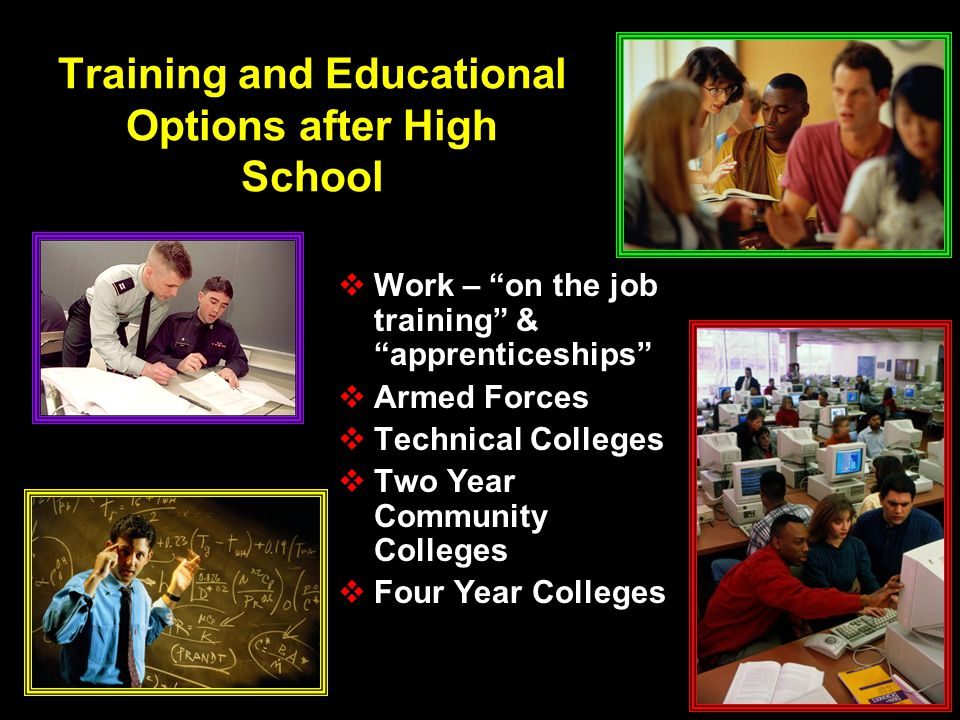 Training and Educational Options after High School  Work – on the job training & apprenticeships  Armed Forces  Technical Colleges  Two Year Community Colleges  Four Year Colleges  Work – on the job training & apprenticeships  Armed Forces  Technical Colleges  Two Year Community Colleges  Four Year Colleges