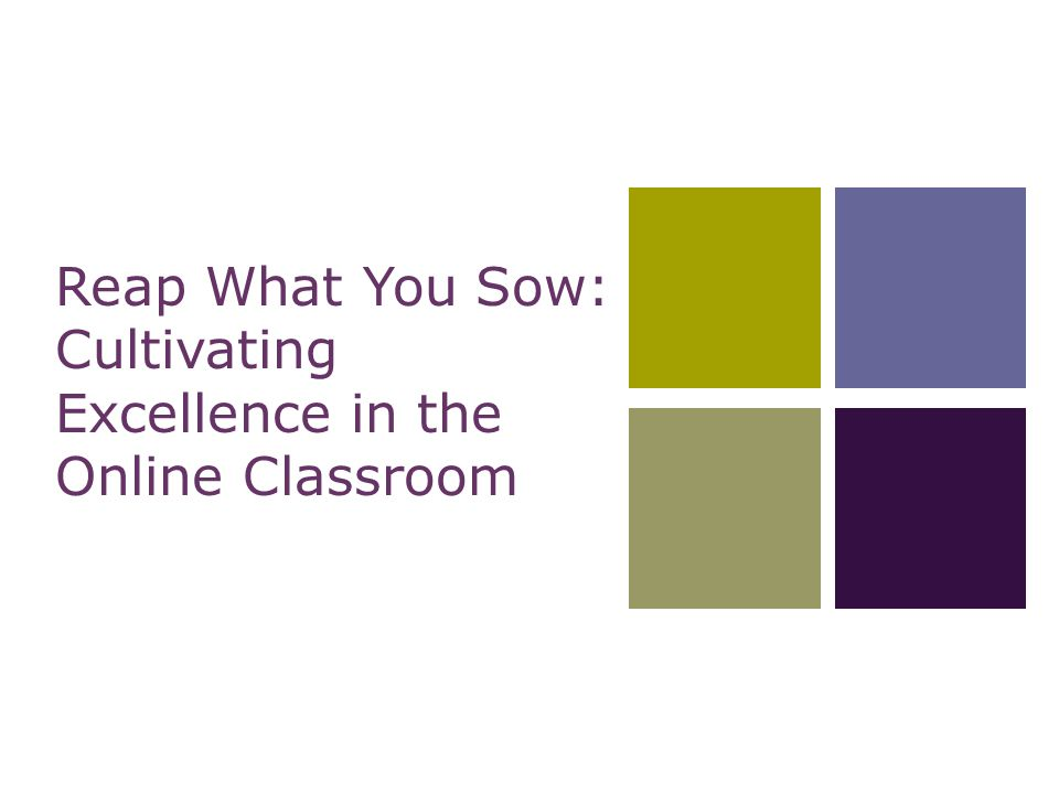 Reap What You Sow: Cultivating Excellence in the Online Classroom
