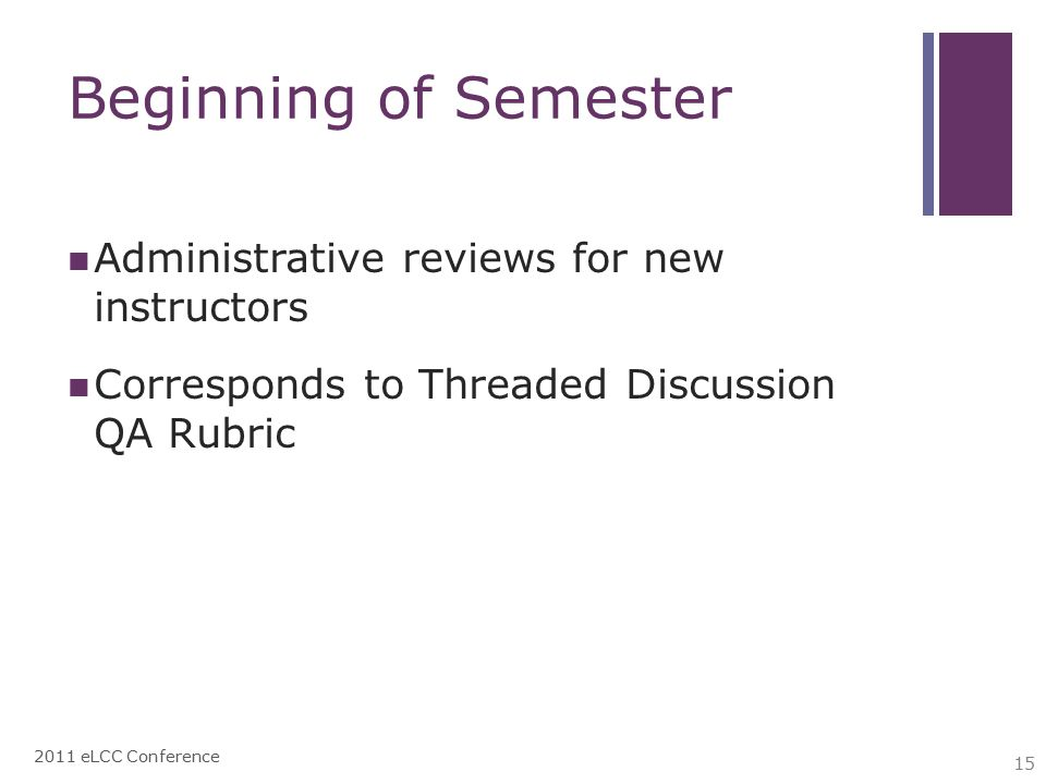 Beginning of Semester Administrative reviews for new instructors Corresponds to Threaded Discussion QA Rubric 2011 eLCC Conference 15