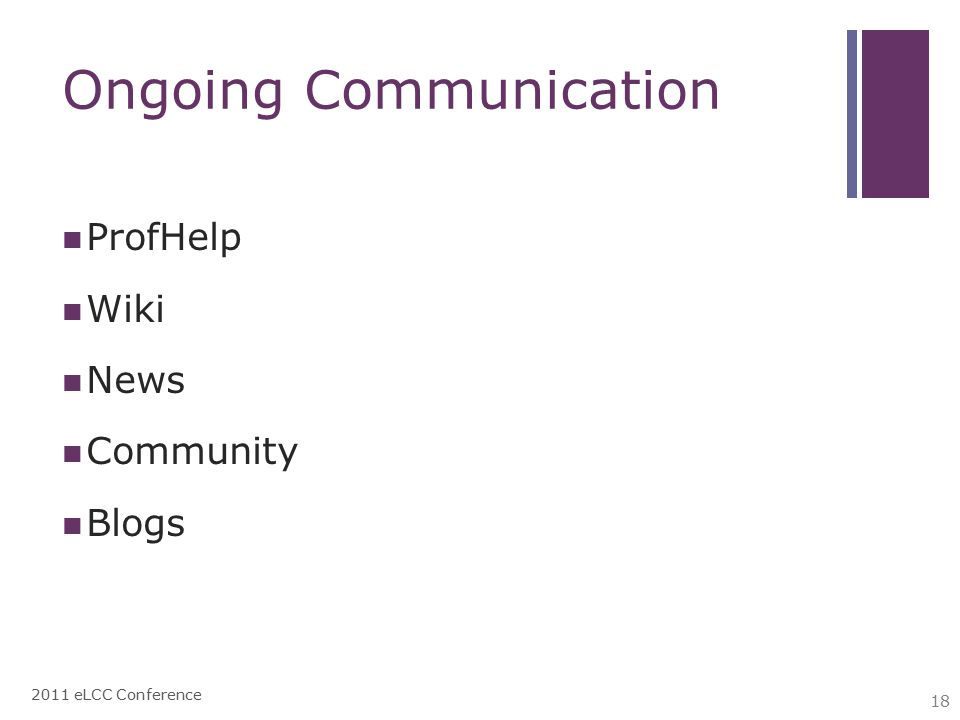 Ongoing Communication ProfHelp Wiki News Community Blogs 2011 eLCC Conference 18