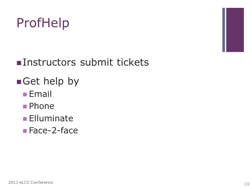 ProfHelp Instructors submit tickets Get help by Email Phone Elluminate Face-2-face 2011 eLCC Conference 19