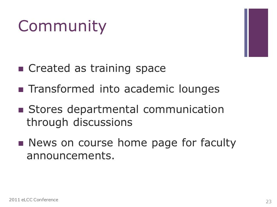 Community Created as training space Transformed into academic lounges Stores departmental communication through discussions News on course home page for faculty announcements.
