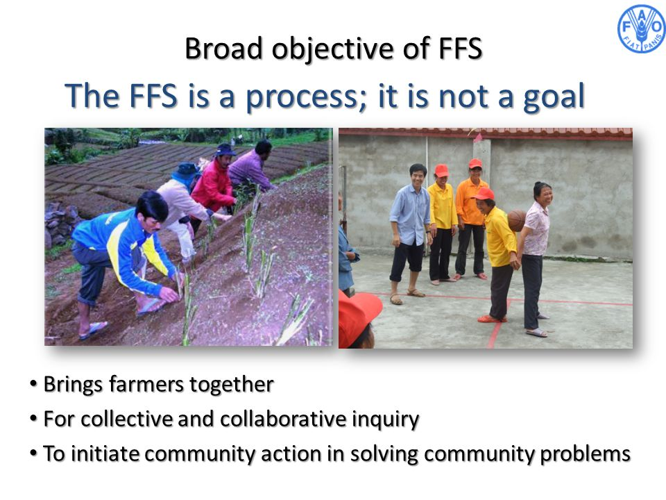 Broad objective of FFS Brings farmers together Brings farmers together For collective and collaborative inquiry For collective and collaborative inqui
