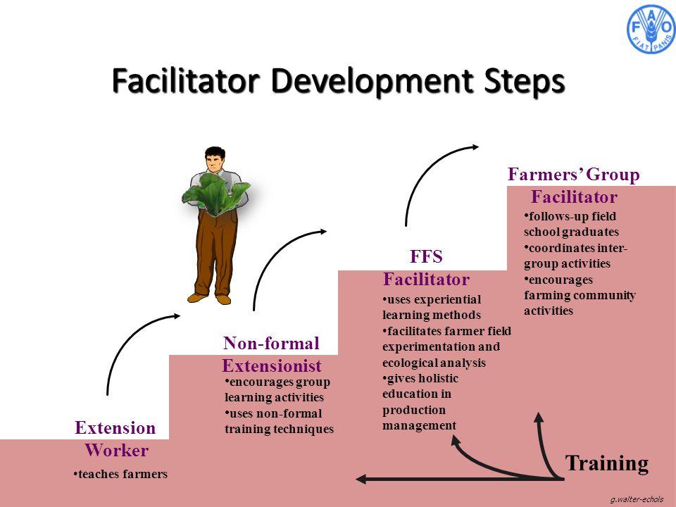 Facilitator Development Steps Extension Worker Non-formal Extensionist FFS Facilitator Farmers' Group Facilitator follows-up field school graduates co