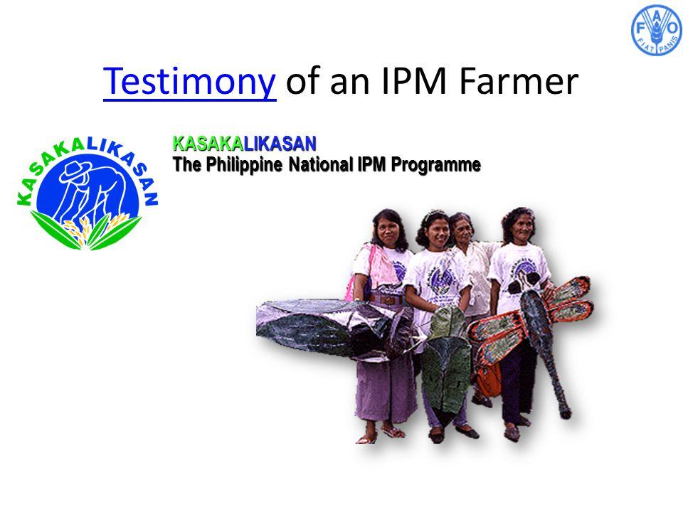 TestimonyTestimony of an IPM Farmer KASAKALIKASAN The Philippine National IPM Programme