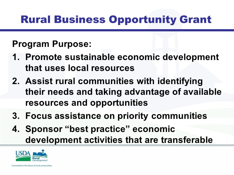Rural Business Opportunity Grant Program Purpose: 1.Promote sustainable economic development that uses local resources 2.Assist rural communities with identifying their needs and taking advantage of available resources and opportunities 3.Focus assistance on priority communities 4.Sponsor best practice economic development activities that are transferable