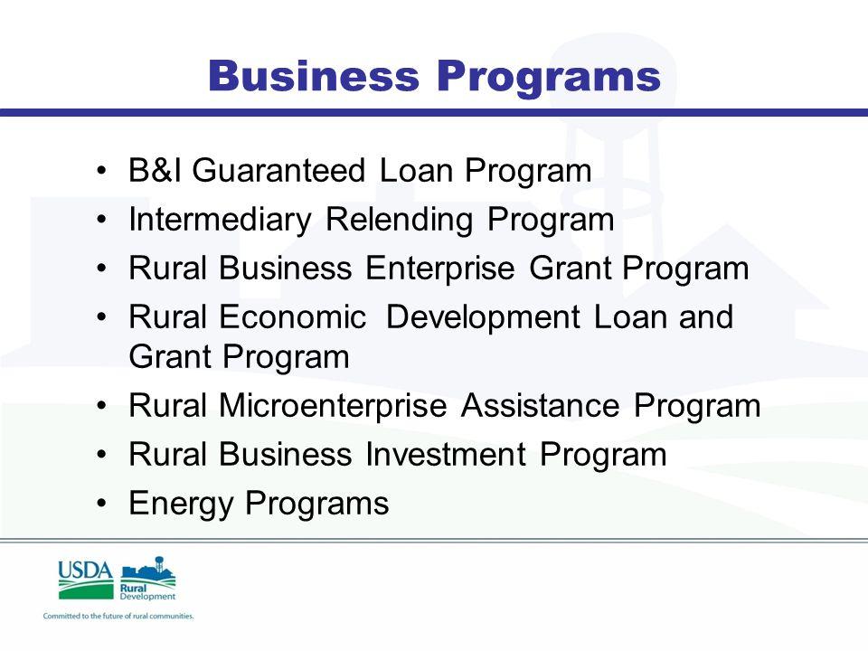 Business Programs B&I Guaranteed Loan Program Intermediary Relending Program Rural Business Enterprise Grant Program Rural Economic Development Loan and Grant Program Rural Microenterprise Assistance Program Rural Business Investment Program Energy Programs