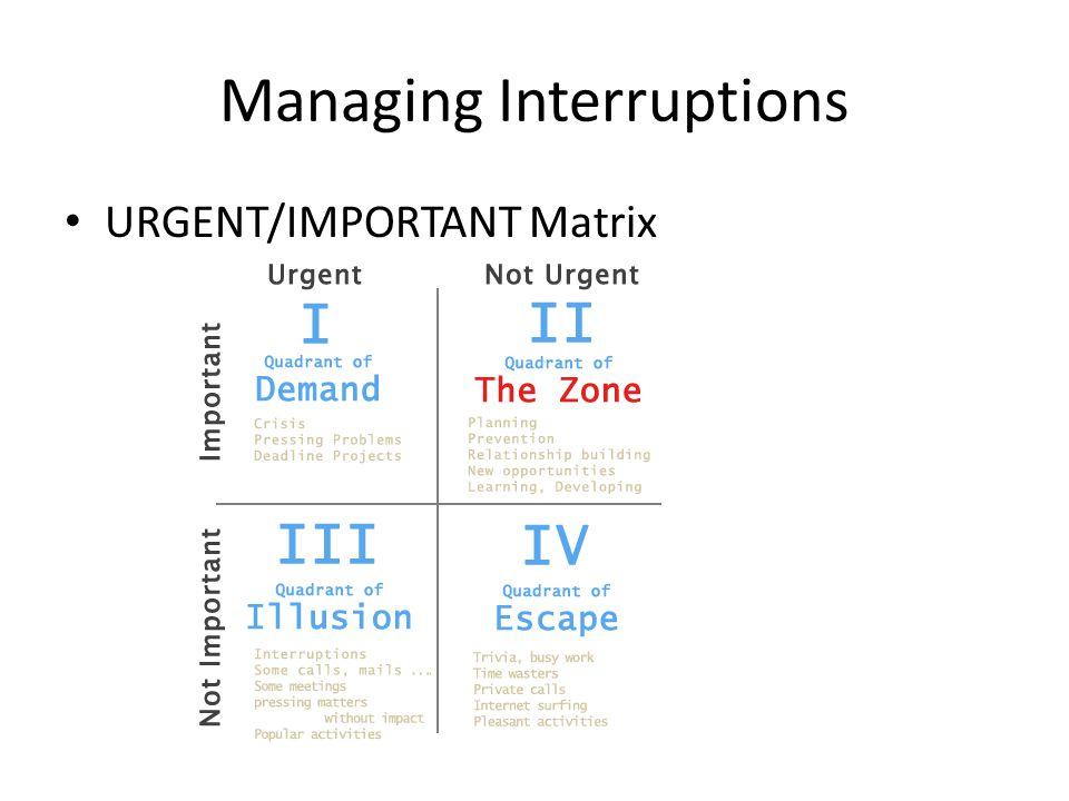 Managing Interruptions URGENT/IMPORTANT Matrix