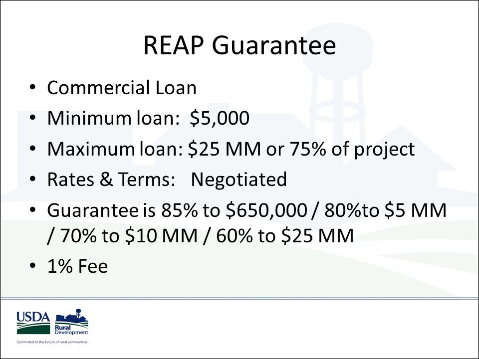 REAP Guarantee Commercial Loan Minimum loan: $5,000 Maximum loan: $25 MM or 75% of project Rates & Terms: Negotiated Guarantee is 85% to $650,000 / 80