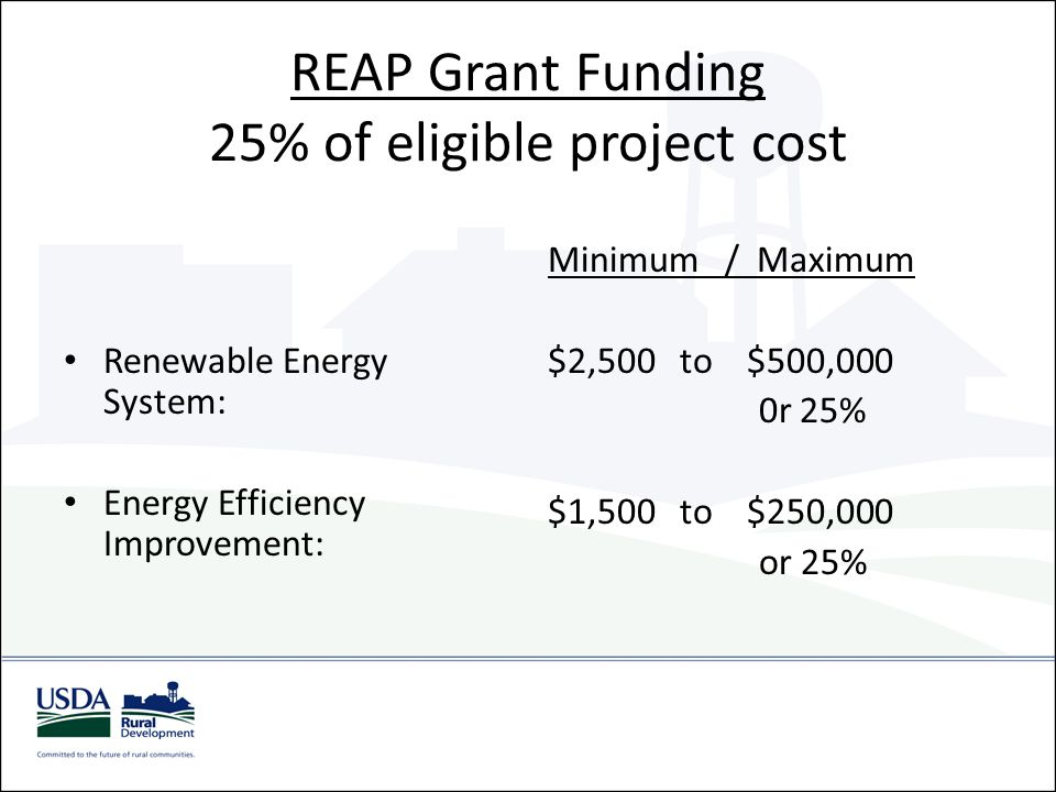 REAP Grant Funding 25% of eligible project cost Renewable Energy System: Energy Efficiency Improvement: Minimum / Maximum $2,500 to $500,000 0r 25% $1