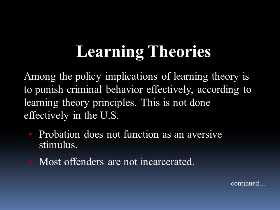 Learning Theories Among the policy implications of learning theory is to punish criminal behavior effectively, according to learning theory principles