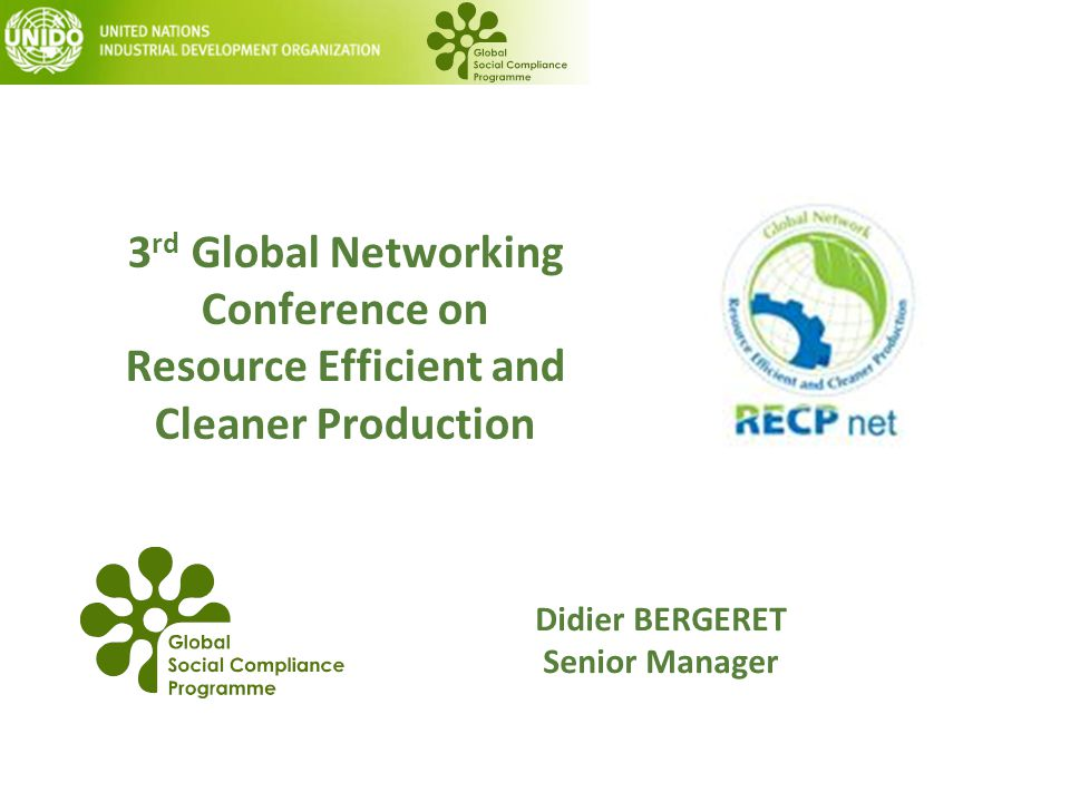 3 rd Global Networking Conference on Resource Efficient and Cleaner Production Didier BERGERET Senior Manager