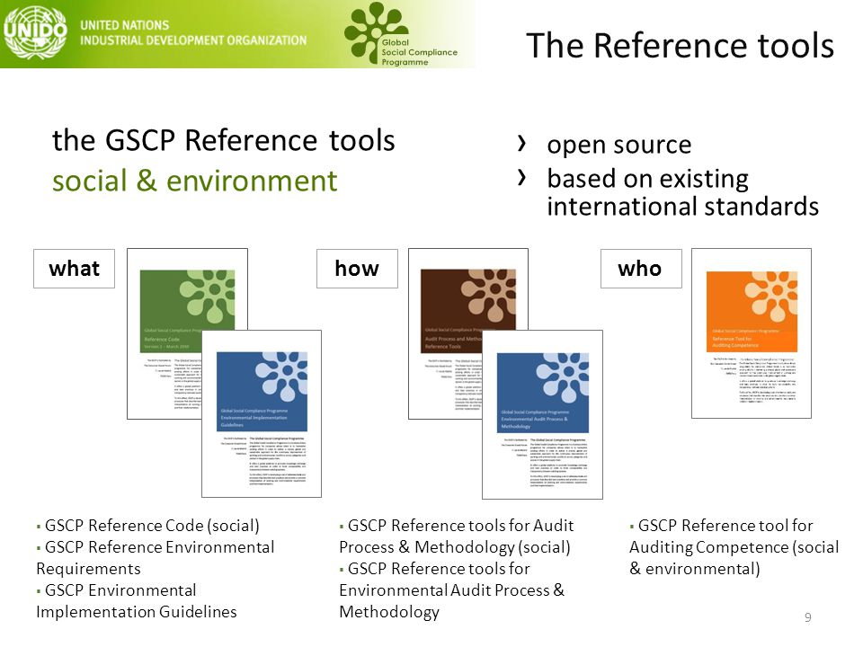 the GSCP Reference tools social & environment whathowwho  GSCP Reference Code (social)  GSCP Reference Environmental Requirements  GSCP Environmental Implementation Guidelines  GSCP Reference tools for Audit Process & Methodology (social)  GSCP Reference tools for Environmental Audit Process & Methodology  GSCP Reference tool for Auditing Competence (social & environmental) › open source › based on existing international standards The Reference tools 9