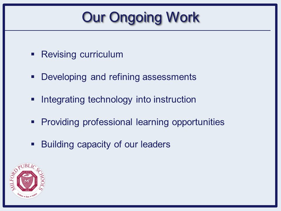  Revising curriculum  Developing and refining assessments  Integrating technology into instruction  Providing professional learning opportunities