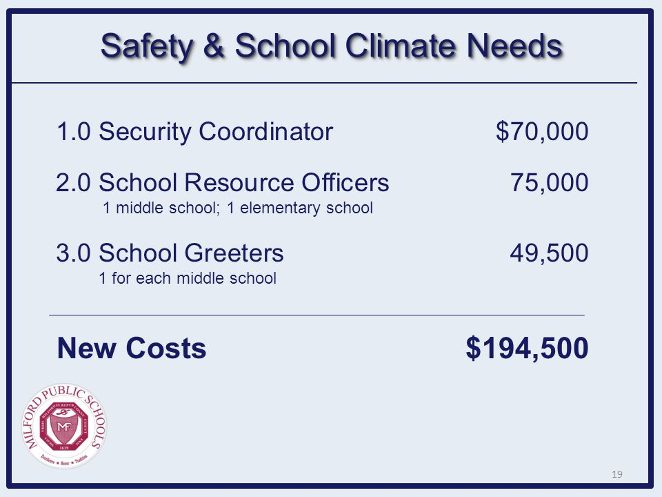 Safety & School Climate Needs 1.0 Security Coordinator$70,000 2.0 School Resource Officers 75,000 1 middle school; 1 elementary school 3.0 School Gree