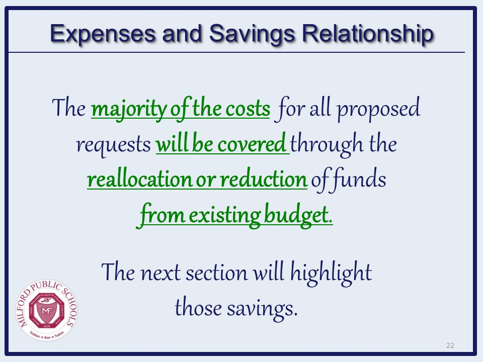 The majority of the costs for all proposed requests will be covered through the reallocation or reduction of funds from existing budget. The next sect