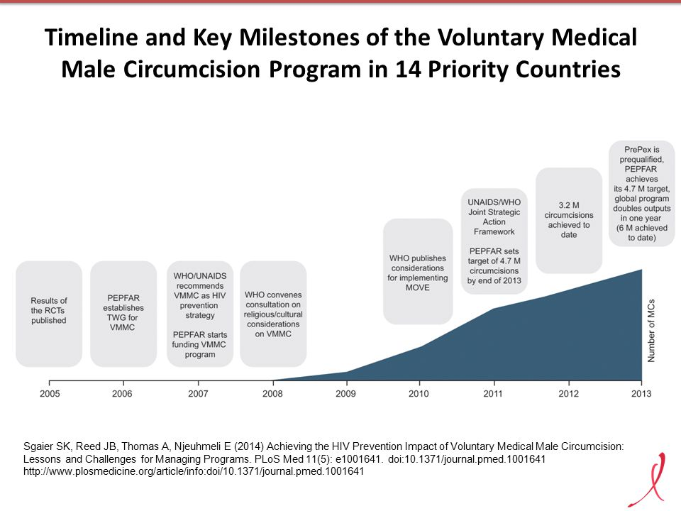 Timeline and Key Milestones of the Voluntary Medical Male Circumcision Program in 14 Priority Countries Sgaier SK, Reed JB, Thomas A, Njeuhmeli E (201