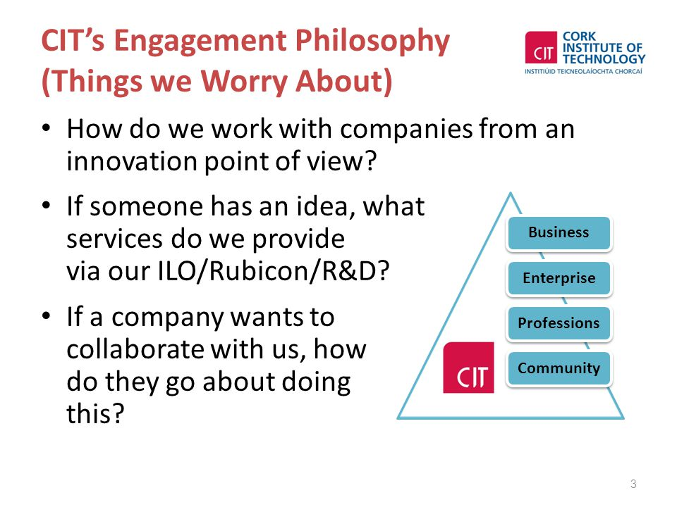 CIT's Engagement Philosophy (Things we Worry About) How do we work with companies from an innovation point of view? If someone has an idea, what servi