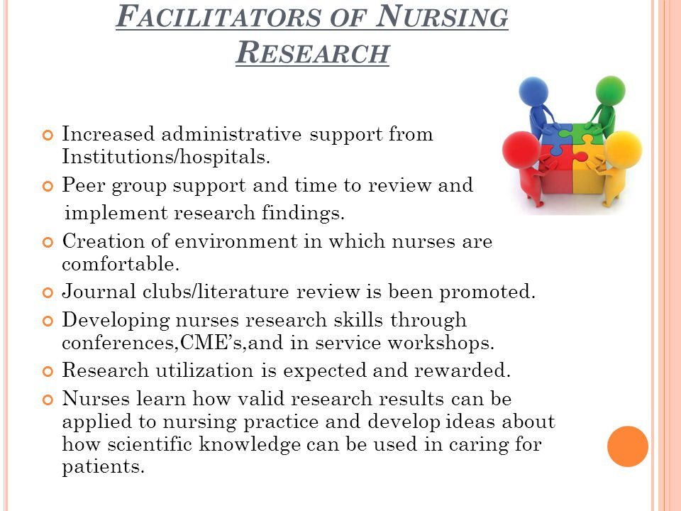 F ACILITATORS OF N URSING R ESEARCH Increased administrative support from Institutions/hospitals.