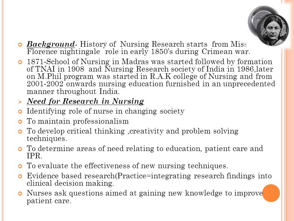 Background - History of Nursing Research starts from Miss Florence nightingale role in early 1850's during Crimean war. 1871-School of Nursing in Madr