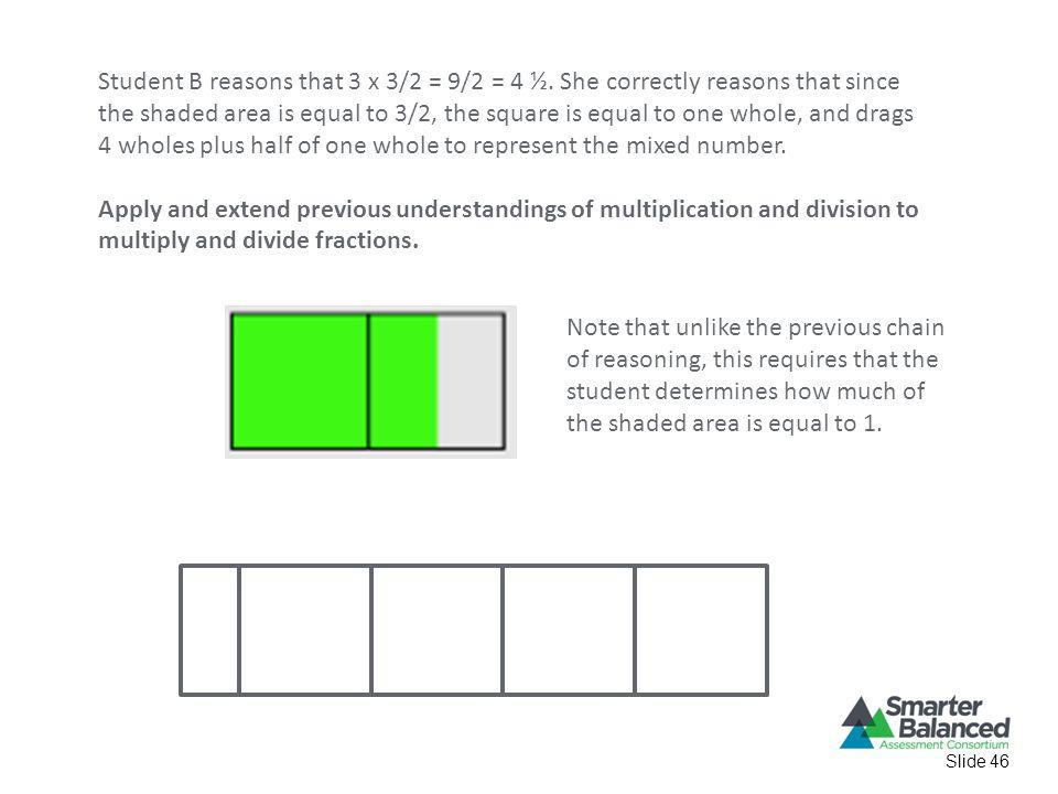 Slide 46 Student B reasons that 3 x 3/2 = 9/2 = 4 ½.