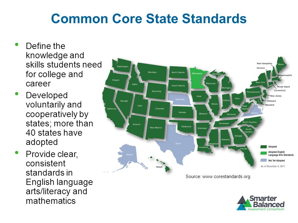Common Core State Standards Define the knowledge and skills students need for college and career Developed voluntarily and cooperatively by states; more than 40 states have adopted Provide clear, consistent standards in English language arts/literacy and mathematics Source: www.corestandards.org