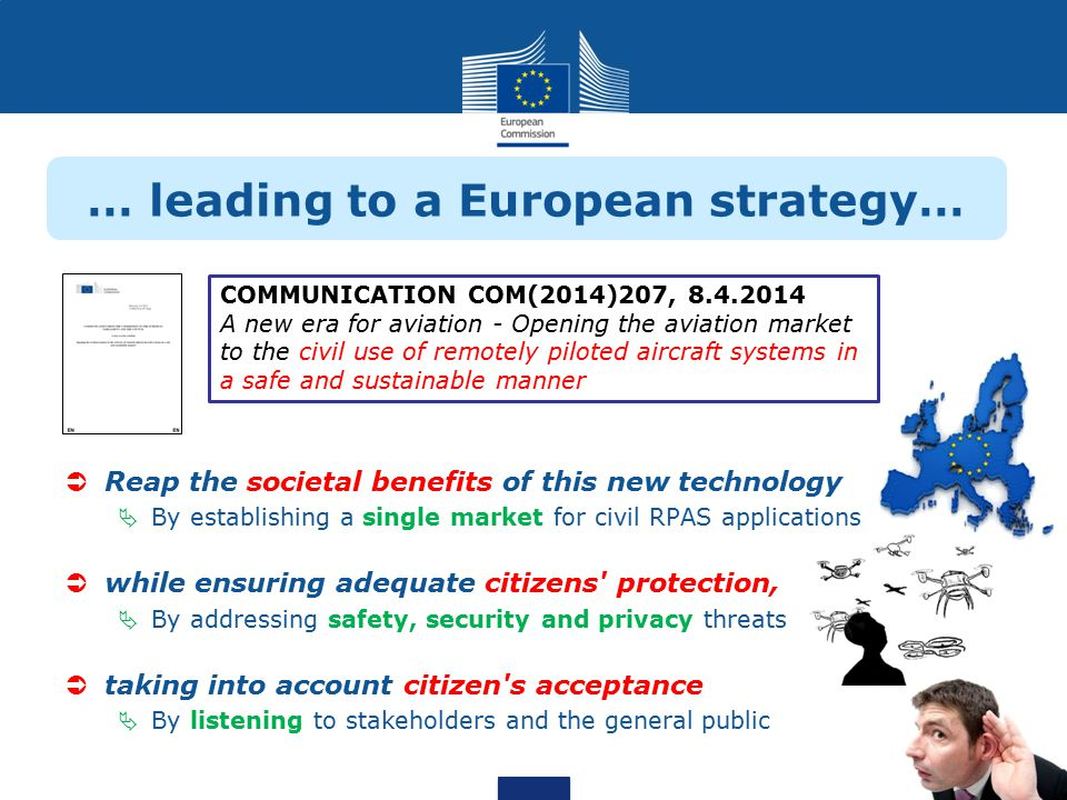 … leading to a European strategy…  Reap the societal benefits of this new technology  By establishing a single market for civil RPAS applications  while ensuring adequate citizens protection,  By addressing safety, security and privacy threats  taking into account citizen s acceptance  By listening to stakeholders and the general public COMMUNICATION COM(2014)207, 8.4.2014 A new era for aviation - Opening the aviation market to the civil use of remotely piloted aircraft systems in a safe and sustainable manner