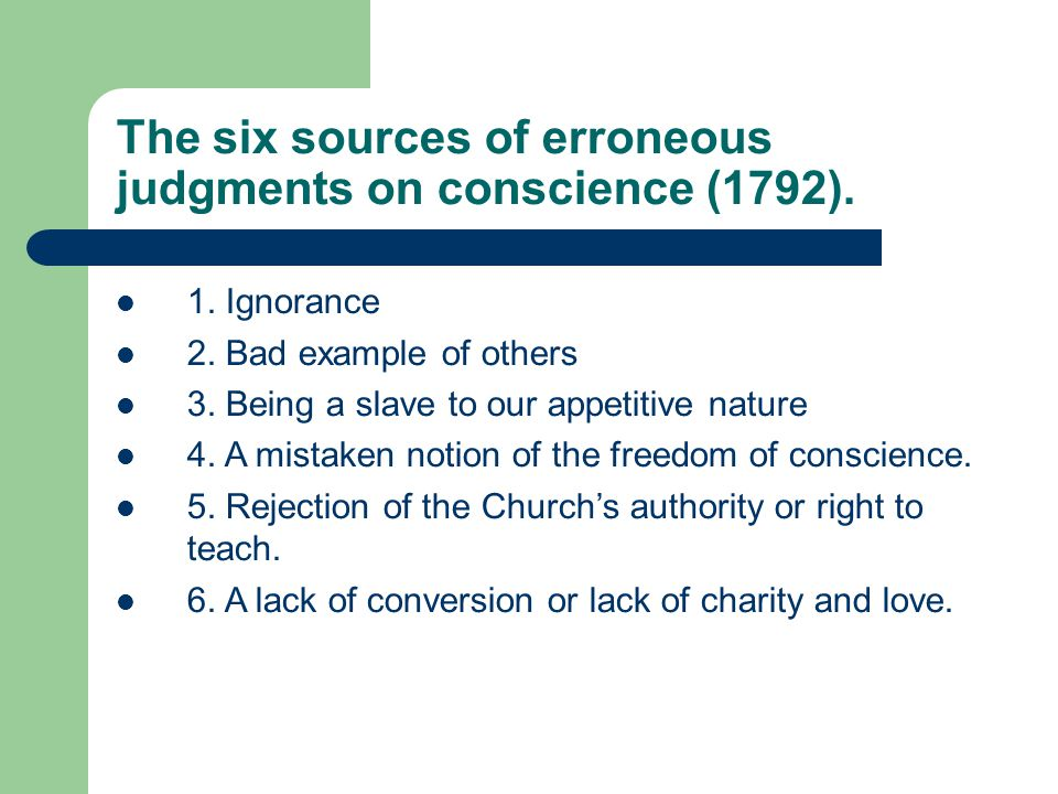 The six sources of erroneous judgments on conscience (1792).