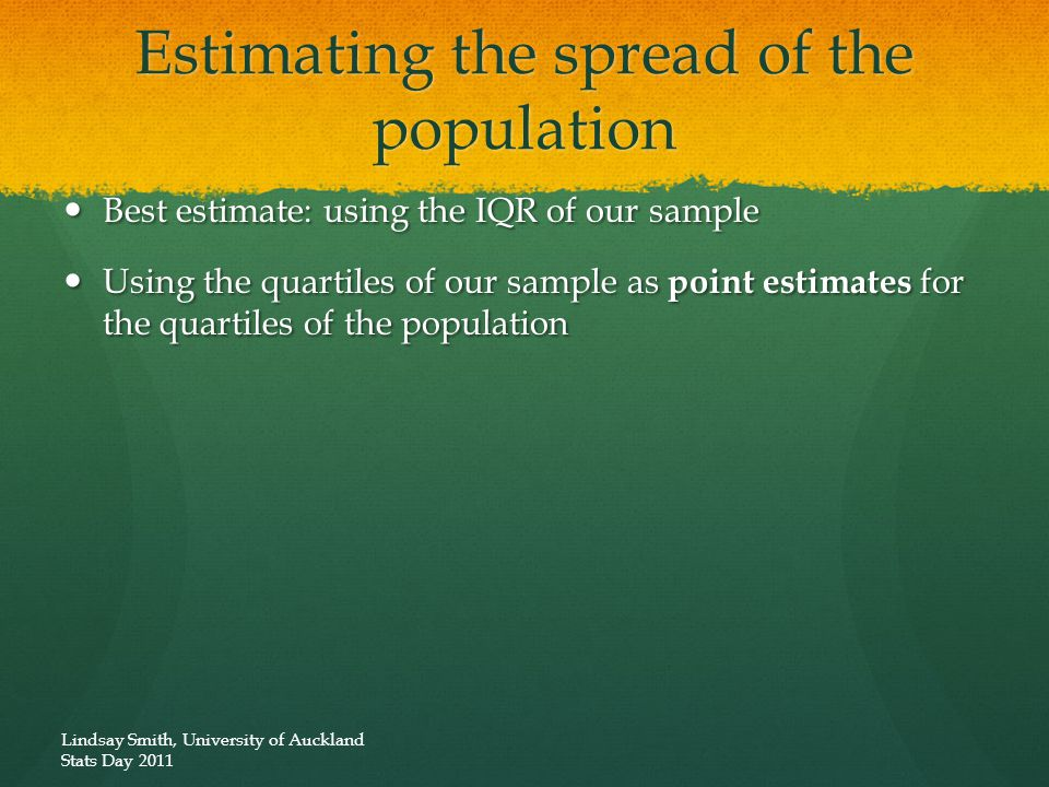 Estimating the spread of the population Best estimate: using the IQR of our sample Best estimate: using the IQR of our sample Using the quartiles of o