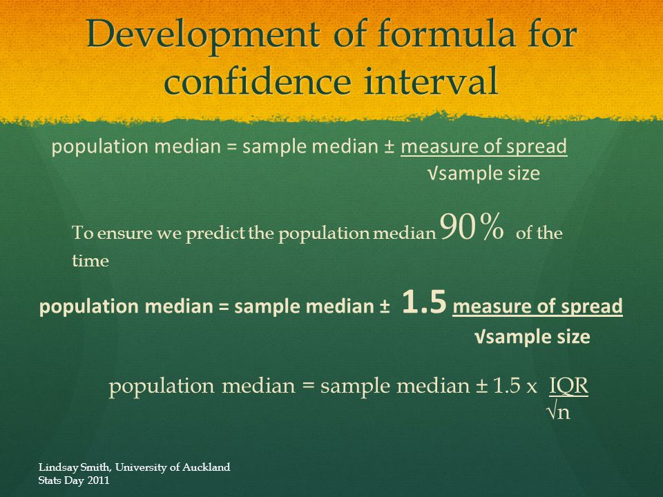 Development of formula for confidence interval population median = sample median ± measure of spread √sample size To ensure we predict the population median 90% of the time population median = sample median ± 1.5 measure of spread √sample size population median = sample median ± 1.5 x IQR √n Lindsay Smith, University of Auckland Stats Day 2011