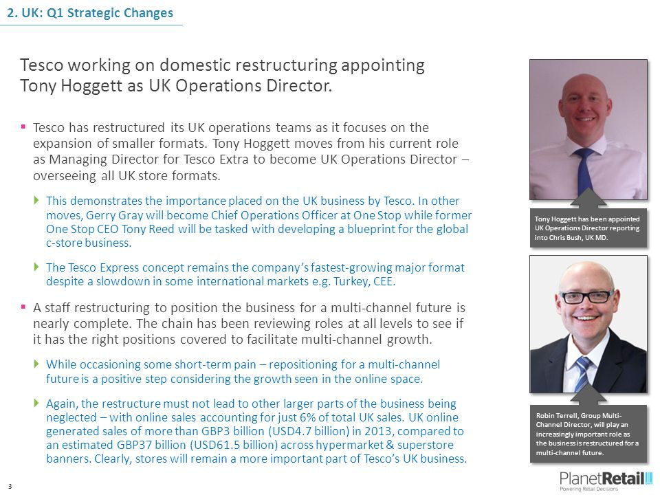 3 Tesco working on domestic restructuring appointing Tony Hoggett as UK Operations Director.