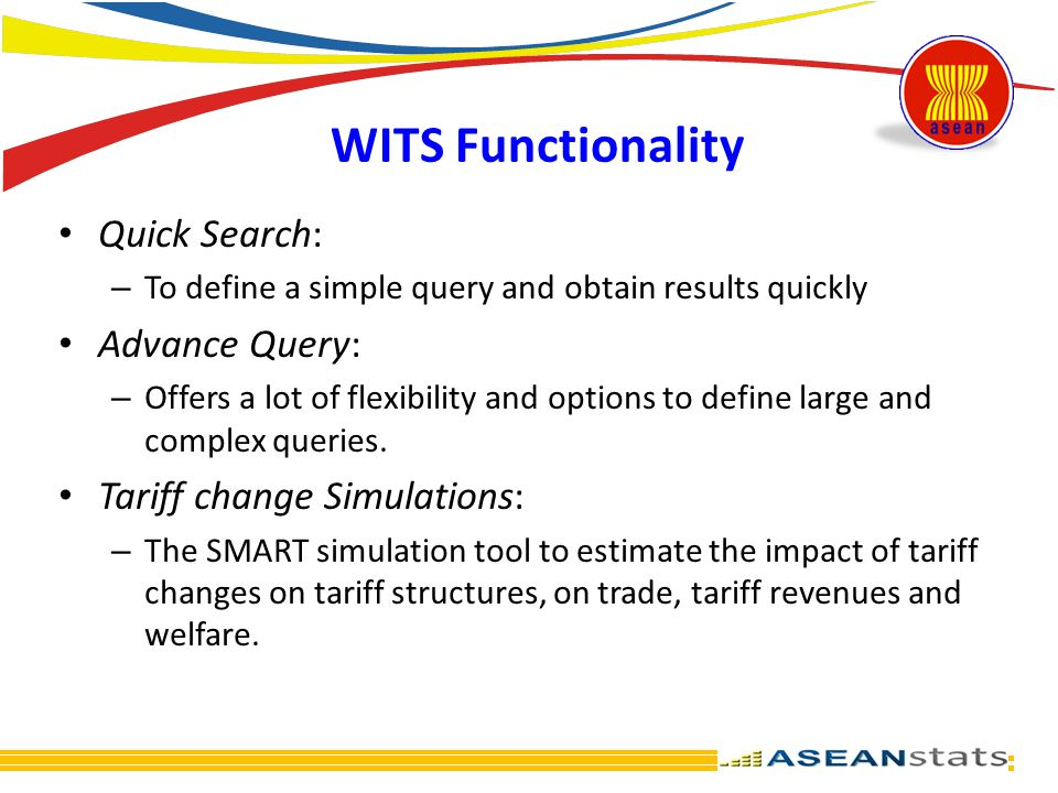 WITS Functionality Quick Search: – To define a simple query and obtain results quickly Advance Query: – Offers a lot of flexibility and options to def