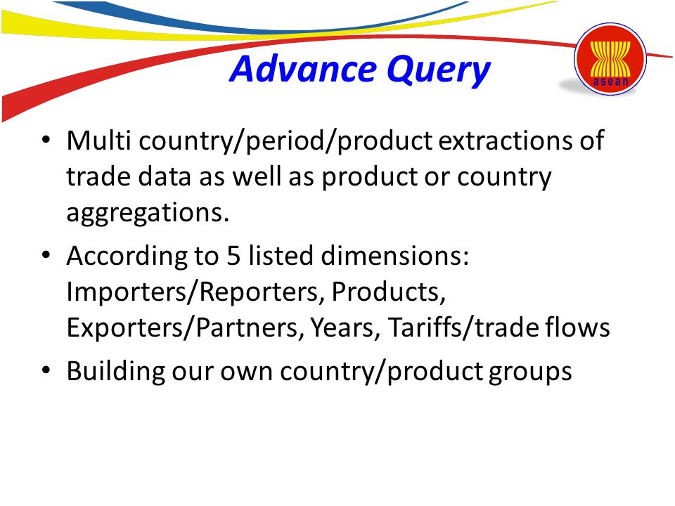 Advance Query Multi country/period/product extractions of trade data as well as product or country aggregations. According to 5 listed dimensions: Imp