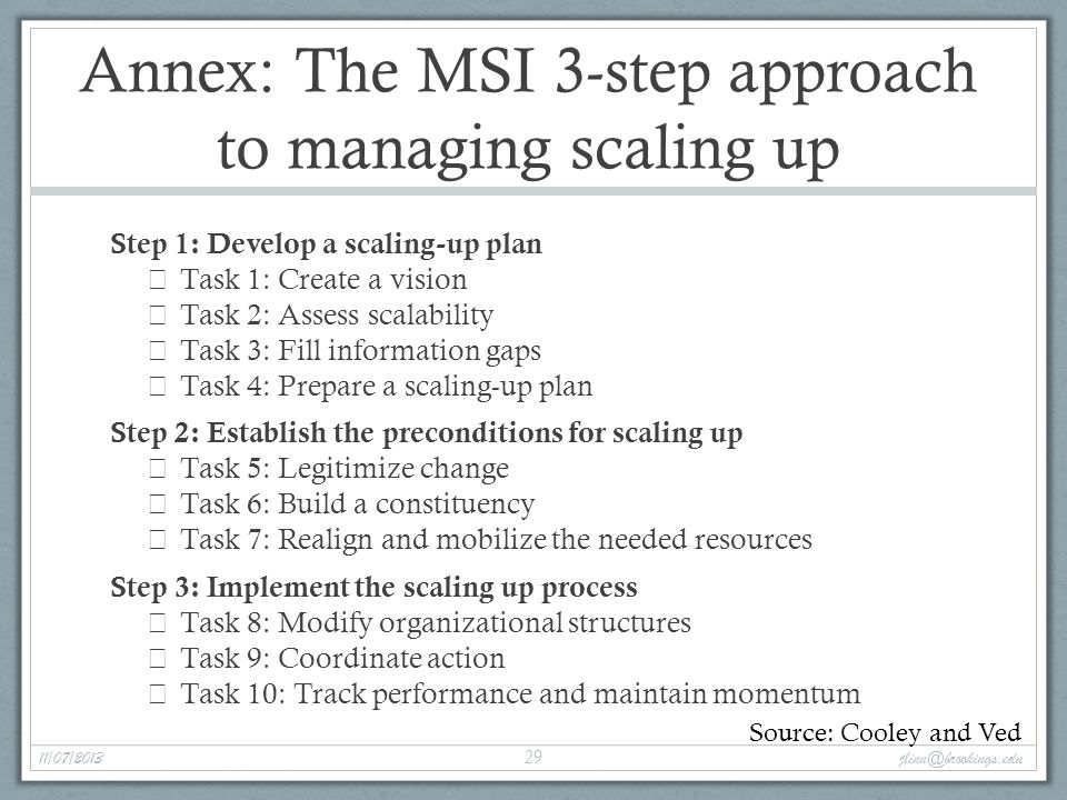 Annex: The MSI 3-step approach to managing scaling up Step 1: Develop a scaling-up plan  Task 1: Create a vision  Task 2: Assess scalability  Task