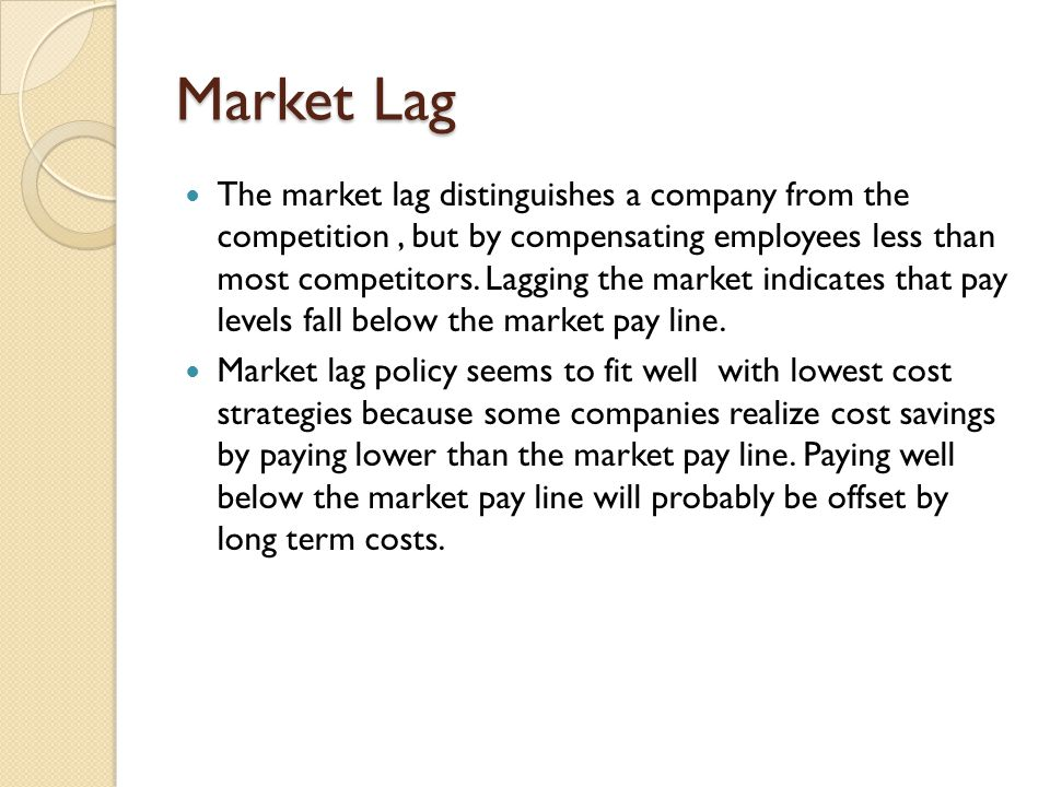 Market Lag The market lag distinguishes a company from the competition, but by compensating employees less than most competitors. Lagging the market i