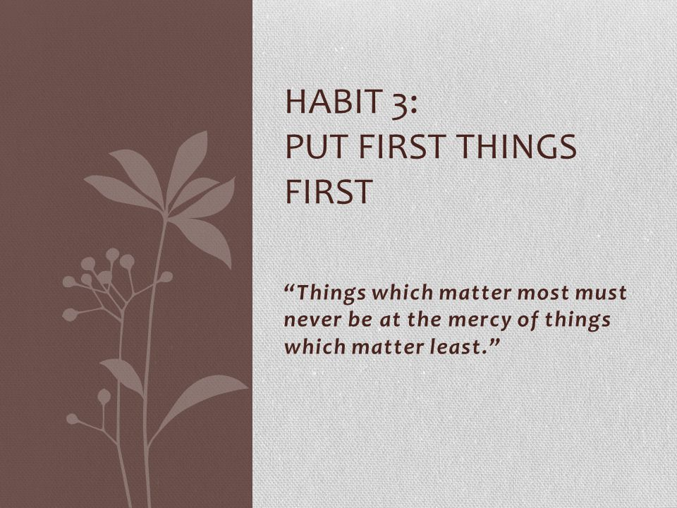 """""""Things which matter most must never be at the mercy of things which matter least."""" HABIT 3: PUT FIRST THINGS FIRST"""