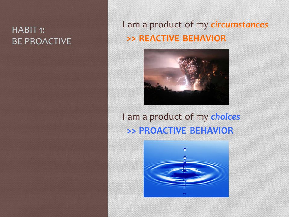 I am a product of my circumstances >> REACTIVE BEHAVIOR I am a product of my choices >> PROACTIVE BEHAVIOR