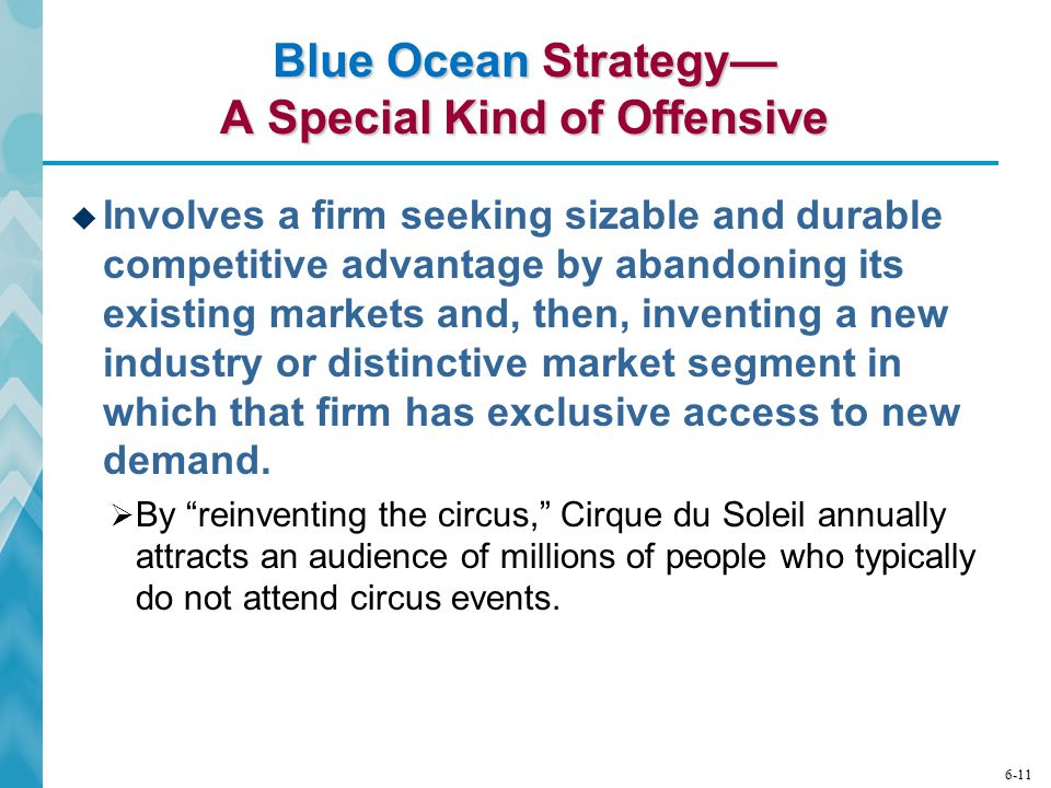 6-11 Blue Ocean Strategy— A Special Kind of Offensive  Involves a firm seeking sizable and durable competitive advantage by abandoning its existing m