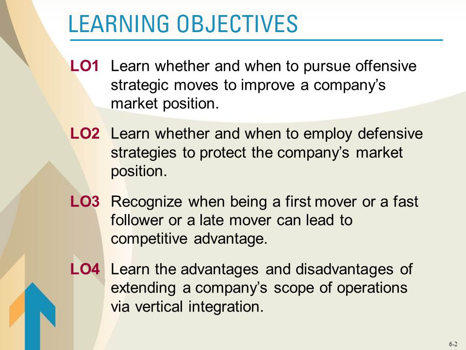 6-2 LO1Learn whether and when to pursue offensive strategic moves to improve a company's market position. LO2Learn whether and when to employ defensiv