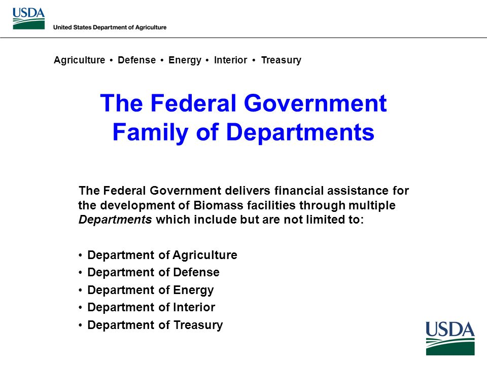 The Federal Government Family of Departments The Federal Government delivers financial assistance for the development of Biomass facilities through multiple Departments which include but are not limited to: Department of Agriculture Department of Defense Department of Energy Department of Interior Department of Treasury Agriculture Defense Energy Interior Treasury