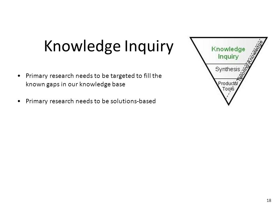Synthesis Need for synthesis to determine what we already know (or should know if we were to summarize the existing knowledge) Need to determine where there is a strong evidence base and move that evidence into action Tailoring Knowledge 19