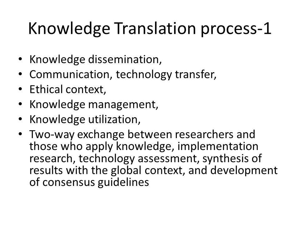 Knowledge Translation Process-1 Source: Nieva VF, et al.