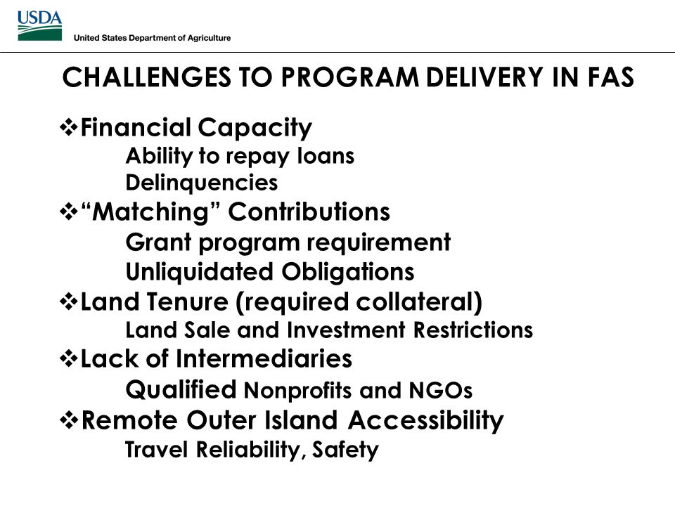 "CHALLENGES TO PROGRAM DELIVERY IN FAS  Financial Capacity Ability to repay loans Delinquencies  ""Matching"" Contributions Grant program requirement U"
