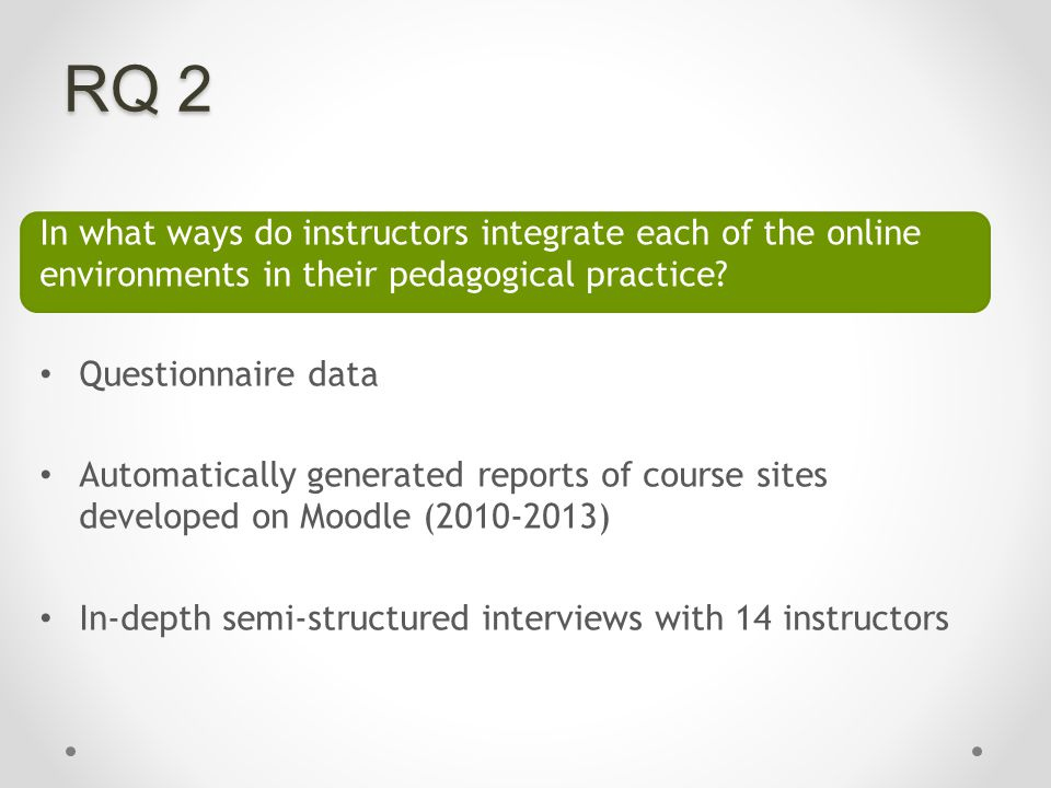 RQ 2 In what ways do instructors integrate each of the online environments in their pedagogical practice.