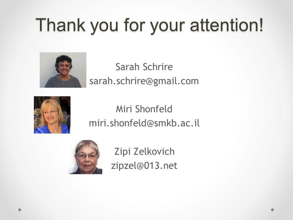 Thank you for your attention! Sarah Schrire sarah.schrire@gmail.com Miri Shonfeld miri.shonfeld@smkb.ac.il Zipi Zelkovich zipzel@013.net