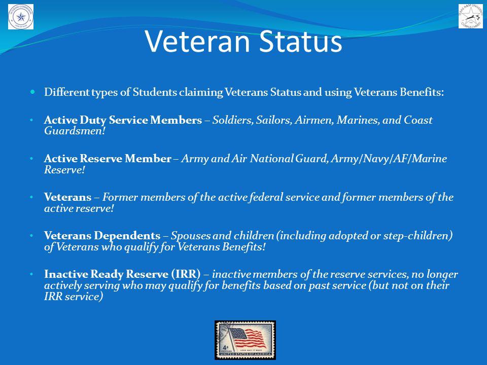 Veteran Status FAFSA, Independent Student and Veterans.