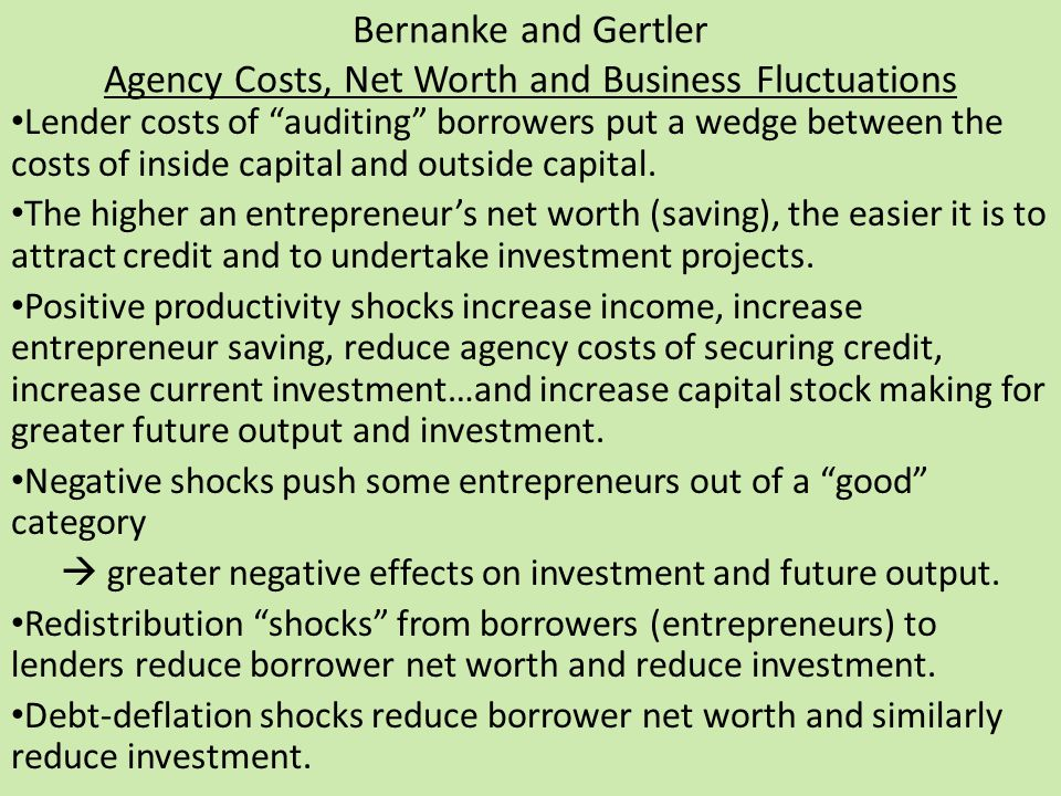 Bernanke and Gertler Agency Costs, Net Worth and Business Fluctuations Lender costs of auditing borrowers put a wedge between the costs of inside capital and outside capital.