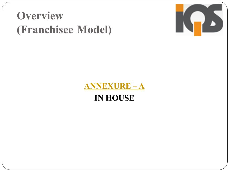 Overview (Franchisee Model) ANNEXURE – A IN HOUSE