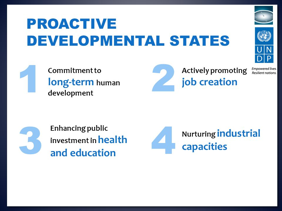 Nurturing industrial capacities PROACTIVE DEVELOPMENTAL STATES Enhancing public investment in health and education Commitment to long-term human development Actively promoting job creation 1 43 2